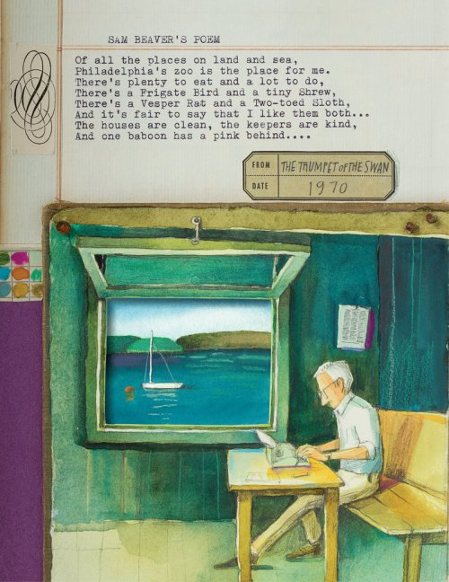 White wrote everything on a manual typewriter. The author typed up all White's poems on a manual typewrite to include them as parts of the illustrations.